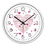 BYLE wall clock BYLE Kreative Wanduhren stilvolles Wohnzimmer Schlafzimmer Liebe Rosa Liebe Styling Mute Serienbriefe Heart-Shaped Muster Wohnkultur Wanduhr, 12 Zoll, Schwarz-weiss,