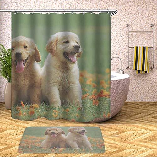 GIRLSIGHT Duschvorhang, Safari-Motiv, wasserfest, Polyester, 70 x 79 cm, mit Haken und Anti-Rutsch, 40 x 60 cm, Badvorleger, 423.Zwei gelbe Labrador-Retriever-Welpen (Sets Labrador-retriever-badezimmer)