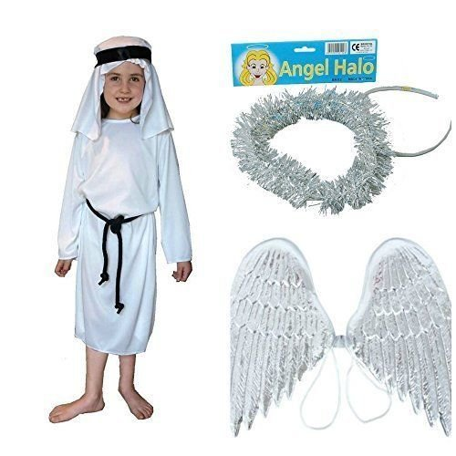 Angel Gabriel costume set : Kids 7 - 9 yrs : Gown , Wings and Halo