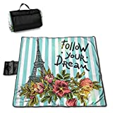 N/A, grande coperta impermeabile da picnic all'aperto, torre Eiffel, fiori, sabbia, tappetino da spiaggia per campeggio, escursionismo, erba da viaggio