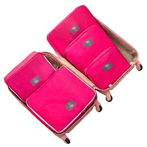 Dexinx Satz von 5 Reise Wasserdicht Verdicken Kleidertaschen Verpackungswürfel Organizer für Kleidung Rose