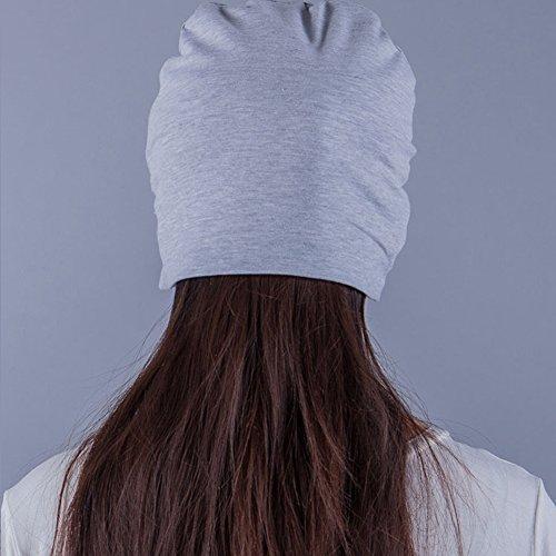 Surker Soft chapeau de nuit en coton chaud Shading Cap manches en tricot somptueux chapeau Hatgear gris clair
