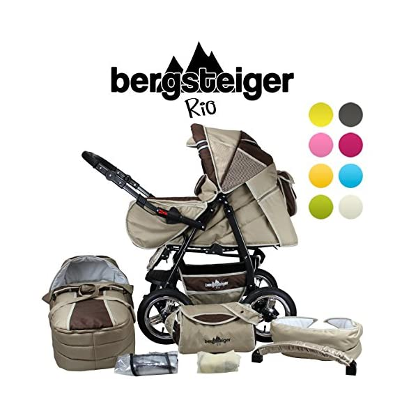 Bergsteiger Rio Combination Pram; soft changing bag; diaper bag; (10-piece mega set; 8 colours) Bergsteiger Comprehensive pram set made by Bergsteiger. This package leaves no wish unfulfilled and will be a trusty companion to you and your child from the moment your child is born. The clever design is easy to use. Thanks to its light weight and compact size, this pram will easily fit into your car. Safety comes first! With this combination pram, you are always on the safe side. The Bergsteiger pram complies with European safety standard EN1888, which specifies safety requirements regarding materials, construction and stability. Stunning colours - modern design. This Bergsteiger pram is not only extremely versatile, it is also an absolute eye catcher. The modern colour scheme and the large air tyres on chrome rims guarantee a beautiful look. 1