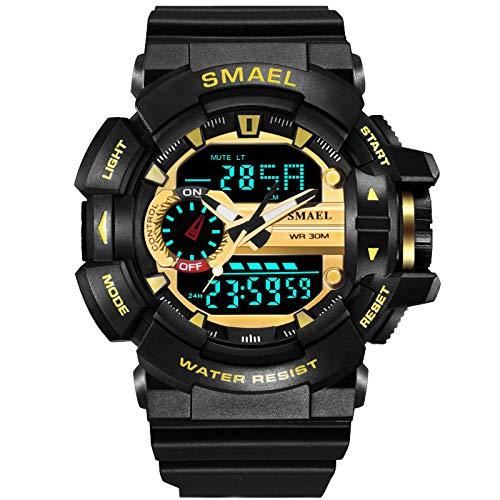 Liabb Die digitalen Sportwächter der Kinder Wasserdichte Sportuhr mit Uhrzeiger, mit Wecker für Kinderuhren,Gold,OneSize