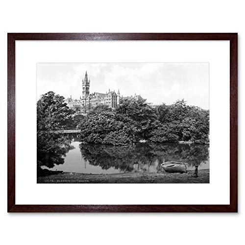 UNIVERSITY GLASGOW SCOTLAND 1895 VINTAGE OLD BW FRAMED ART PRINT MOUNT B12X1305 -