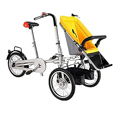 Baby Trolley Can Sit and Lie Down Parent Child Tricycle Mother Child Bicycle Portable Folding Bicycle Transforms from A Bike Stroller to A Regular Stroller (Yellow)