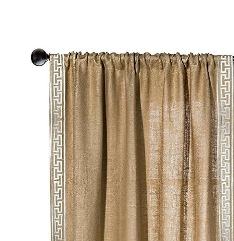 Amore BEAUTE fabriqué à la main rustique Chic grec à broder en toile de jute/Toile de jute/Toile de jute Rideau de fenêtre/Drape, Tissu, beige, 117W x 274L cms
