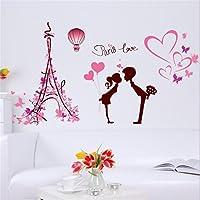 Mural amor en París se puede separar pegatinas de pared bebé niña de los niños cuarto de niños habitación infantil escuela de bricolaje arte decorativo de la pared (50 * 70cm)