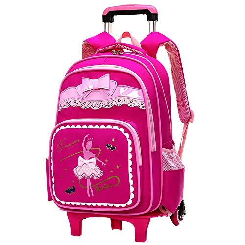 Zevonda ragazze bambini zaino trolley per scuola - impermeabile ruote rotolamento removibile scuola borsa, rosa rosso
