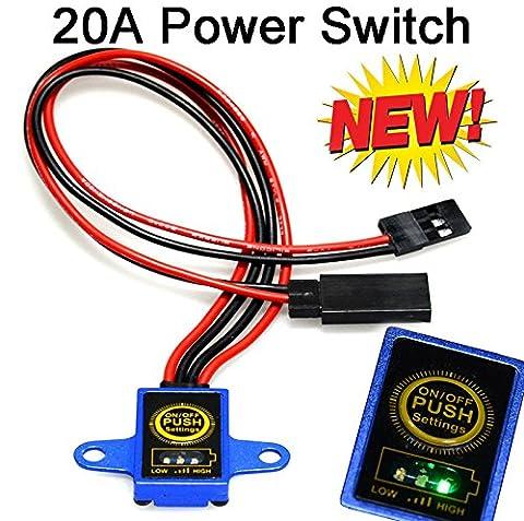 Wasserdichter RC-Modell Digital Ein/Aus Schalter, schaltet Empfänger ein und aus bis 20A Stromaufnahme maximal. Alu Gehäuse mit AMB-Sensor Abmessung