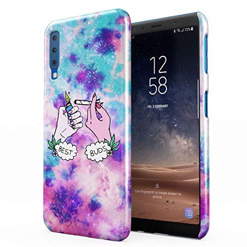 Best Buds Lighting Blunt Trippy Acid Space Dünne Rückschale aus Hartplastik für Samsung Galaxy A7 2018 Handy Hülle Schutzhülle Slim Fit Case Cover Handy Snap Case