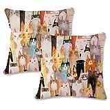 JOTOM Cotone Lino Fodera per Cuscino per Animali Fodere per Cuscini Divano Decorativo per la casa Divano 45 x 45 cm,Set di 2 (Gatto 2)