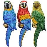 K7plus® - Papagei Ara 31 cm für Zaun, Wand und Balkon. Grundfarbe grün. Eine schöne Zaunfigur als Zaunhocker und Zaungast oder Deko Dekoration Gartenfigur. Für Balkons, Terrassen, Zäune, Wände, Sträucher und Bäume.