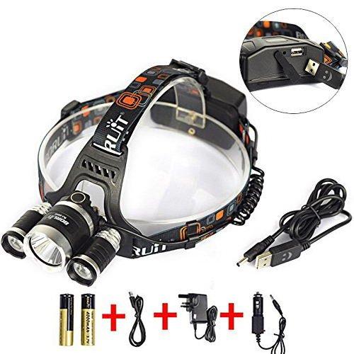 Preisvergleich Produktbild Boruit Led stirnlampe kopflampe 6000 Lumen XM-L2 T6 LED-Scheinwerfer kopflampe Stirnlampe led Scheinwerfer-Kopf-Lampen-Taschenlampe für Outdoor Sports Camping Wandern AngelnBritische Ladegerät Technische Daten