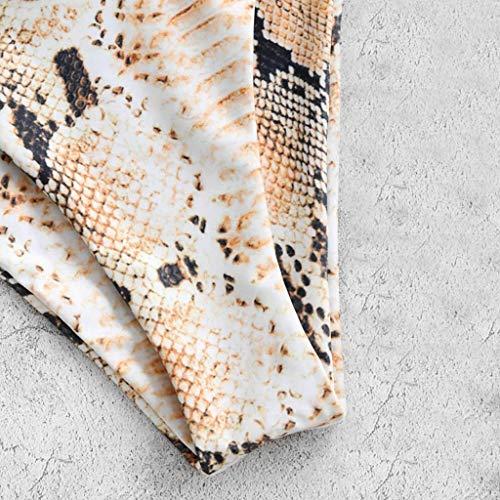 Mortimer Lamb Damen Bikini-Sets Leopardenprint Leopard Push up Gepolstert Bustier Hohe Taille Bikinislip Badeanzug Bademode - 2