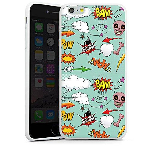 Apple iPhone X Silikon Hülle Case Schutzhülle Totenkopf Comic Bombe Sticker Style Silikon Case weiß