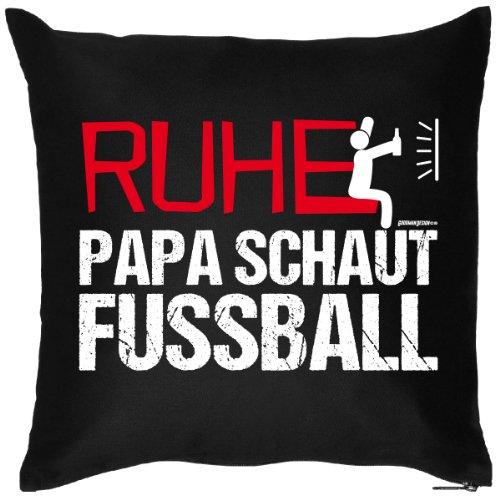 n Kuschelkissen - Kissen incl. Füllung Ruhe Papa schaut Fussball Geschenk für Papa Vatertagsgeschenk Fussball Fan ()