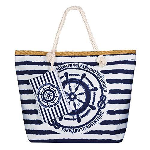 Vordas Strandtasche XXL Familie mit Reißverschluss, Strandtasche Canvas XXL mit Reißverschluss und Innentasche für Reise, Kaufen, Ausflug usw (Perfekte Größe 55 x 39 x 16,5 cm) (Damen Strandtasche 6) - Innentasche Mit Reißverschluss