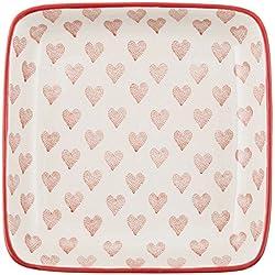 IB Laursen - Heart - eckiger Teller - 12,5 x 12,5 cm - Herz - Keramik