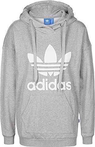 adidas Damen Trefoil Kapuzenpullover, Medium Grey Heather, 34