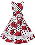 bridesmay 50s Retro Vintage Rockabilly Kleid Knielang Partykleider Cocktailkleid Abendkleider White Black Dot Rose S