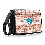 MySleeveDesign Messenger Bag Laptoptasche Notebooktasche mit Tragegurt - Tasche für Laptop & Notebook der Größen 13,3 Zoll / 14 Zoll / 15,6 Zoll / 17,3 Zoll - VERSCH. Designs - Aztec Elephant - 15