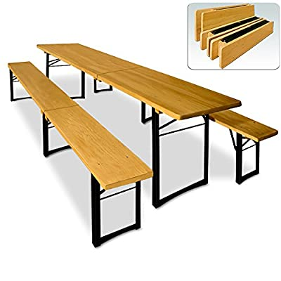 Wooden Trestle Beer Table and Bench Set Folding Outdoor Dining Furniture Set - 220x50x75cm Table with 2 Benches