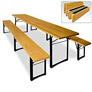 Wooden Trestle Beer Table and Bench Set Folding Outdoor Dining Camping Party Furniture - 220x50x75cm Table with 2 Benches Space for 8 - 10 Adults