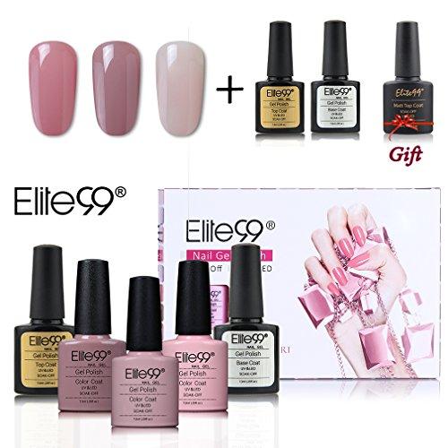 Elite99 UV LED Nagellack set uv gel shellac set sock off gel peer off nagellack uv farbgel gel matt nagellack polish 5 Flasche 7.3ml 1 Flasche 10ml