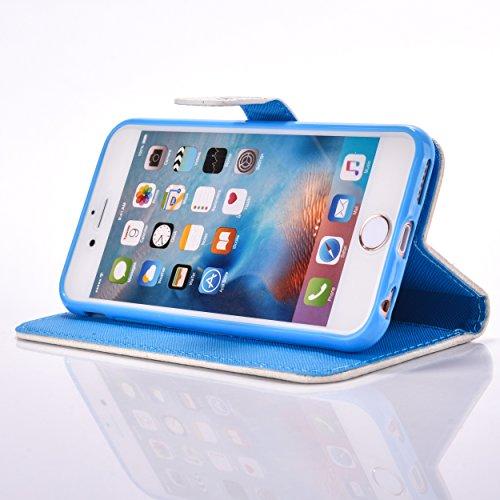 Coque pour Apple iPhone 6/6S 4.7 Zoll,Housse en cuir pour Apple iPhone 6/6S 4.7 Zoll,Ecoway Colorful imprimé étui en cuir PU Cuir Flip Magnétique Portefeuille Etui Housse de Protection Coque Étui Case poisson chat