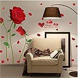 QTXINGMU Wall Sticker Rote Rose Blume Schlafzimmer Bett Schrank Hintergrund Dekoration Umweltschutz PVC-Aufkleber