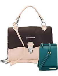 Lapis O Lupo Combo Puce Women Sling Bag And Mobile Sling Bag (Brown,Turquoise)