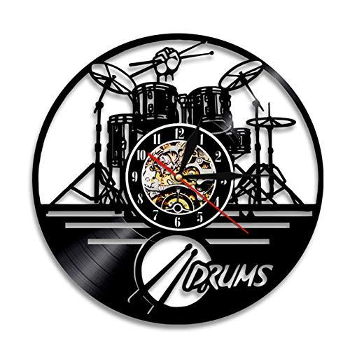 UIFVCN 1 Stück Trommeln Set Silhouette Led Hintergrundbeleuchtung Musik Band Moderne Vinyl Uhr Wanduhr Handgemachtes Geschenk, Weiß