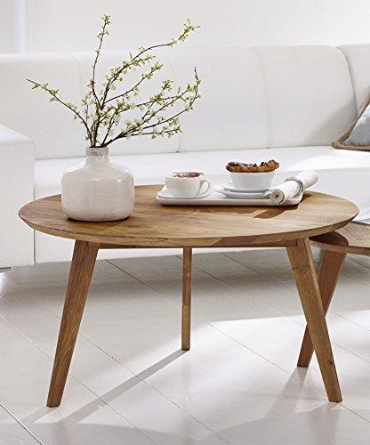 SAM Stilvoller Rundtisch, Couchtisch Olpe, 90 cm rund, Esstisch aus massiver Kernbuche, geölt, Tisch in natürlichem zeitlosem Design