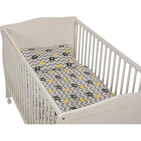 Fillikid–Biancheria da letto/biancheria da letto per bambini elefante giallo–flanella–40x 60/100x 135cm - Giallo Flanella