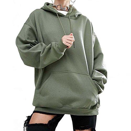 Sweat à capuche femme Sweatshirt - Juleya dames surdimensionné taille pull sweat occasionnel à capuche à manches longues tunique Midi robe automne hiver Outwear noir, rouge, vert, brun Vert