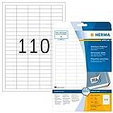 Herma 4210 Universal Etiketten ablösbar, wieder haftend (38,1 x 12,7 mm) weiß, 2.750 Klebeetiketten, 25 Blatt DIN A4 Papier matt, bedruckbar, selbstklebend, Movables