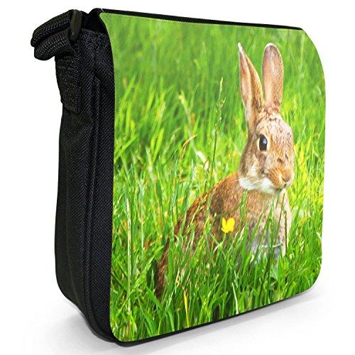 Peluche conigli Borsa a spalla piccola di tela, colore: nero, taglia: S Nero (Rabbit Hiding In Grass)