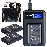TOP-MAX® 2x EN-EL23 Rechargeable Li-ion Battery + USB Charger(LED Screen) for Nikon Coolpix P600 S810c P900S Digital Camera