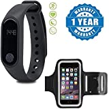 Drumstone Smart Fitness Band With Heart Rate Sensor/Pedometer/Sleep Monitoring Functions With Sports Armband Mobile Case For Running Jogging Sports & Gym Activities Compatible With Xiaomi, Lenovo, Apple, Samsung, Sony, Oppo, Gionee, Vivo Smartphones (