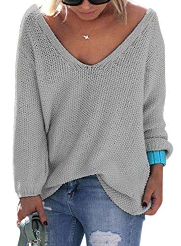 Nlife Frauen Strickte V-Ausschnitt Langarm Pullover Bluse Tops, Gr. L, Farbe: Light Grey (Womens V-neck Sweater)