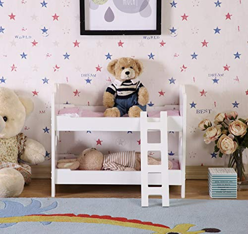 HILIROOM Doll Bunk Bed Wooden 18 inch Bedding for Baby Dolls, Dolls Bunk Beds White