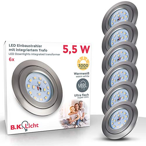 LED Einbaustrahler Dimmbar Schwenkbar Ultra Flach 6er Set 5,5W LED Modul IP23 Spot Einbauleuchte Deckenspot Deckenstrahler Einbauspot Spots Rund Warmweiss Matt Nickel 6 x 470lm 30mm Einbautiefe