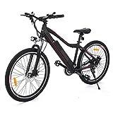YUEBO Elektrofahrrad mit 26 Zoll Mountainbike, 24-34km/h Pedelec E-Bike Lithium-Akku mit 21 Gang Getriebe Schwarz