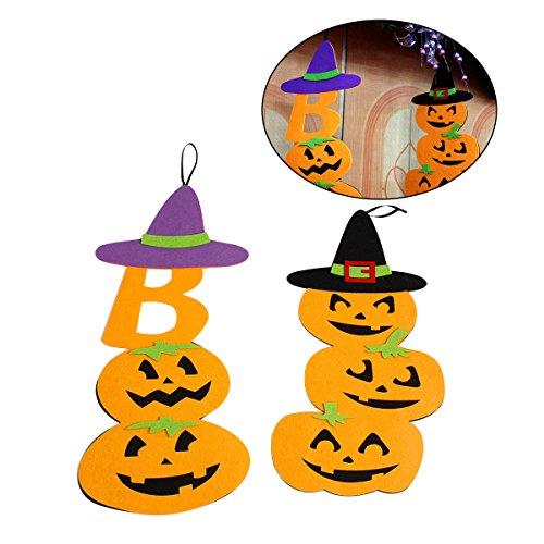 Tinksky Halloween-Kürbis-Verzierung 2PCS Gewebe-hängende Dekoration für Halloween-Haus-Partei-Stab-Dekor-Stütze (schwarzer Hut und lila Hut)