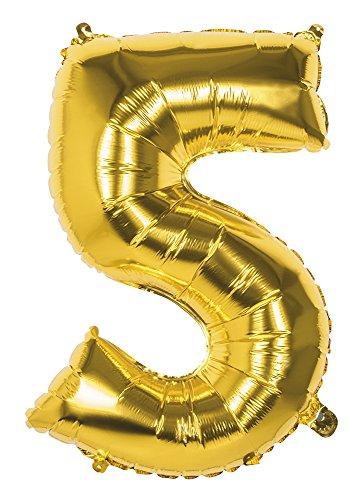 G4GADGET 86,4 cm Pouce Géant Foil Numéro 5 Grande Helium Air Ballons Fête Joyeux Anniversaire Cadeau (Or)