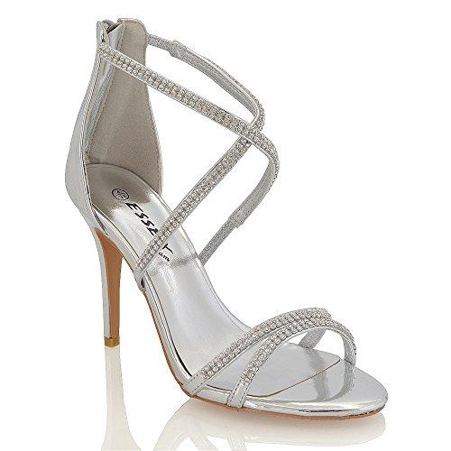 Essex Glam Argento Metallizzato sandali tacco alto a spillo Diamante delle donne EU 38
