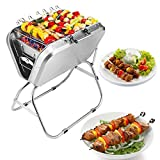Cowekai BBQ Tischgrill Reisegrill Minigrill Campinggrill Holzkohlegrill Kleiner Tisch Classic Barbecue Grill 44×27×26Edelstahl Holzkohle BBQ Grill für Camping Tailgating und Picknick
