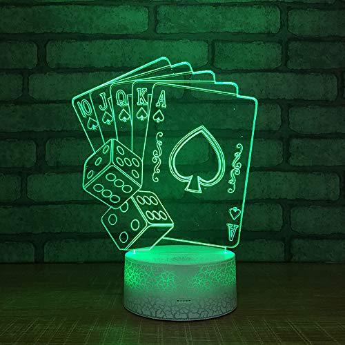 Xrwz 3D Nachtlicht Led Lampe 7 Farben Remote Und Touch-Schalter Tischleuchte Acryl Board Abs Basis Usb Line Kinder Family Party Geburtstag Weihnachtsgeschenk Poker (Led-lampe 1445)