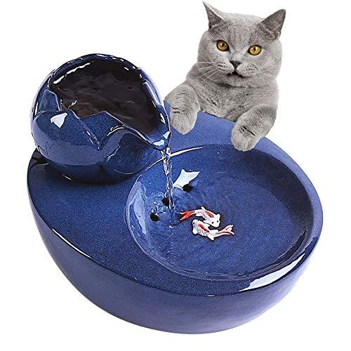 WLDOCA Katzen Trinkbrunnen Katzen-Wasser-Brunnen, automatischer Zirkulations-Haustier-Wasserspender Tragbare hygienische austauschbare Filter-Blumen-Art-Wasserschüssel -